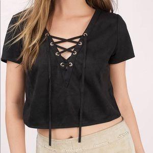 Tobi lace up suede crop top   black